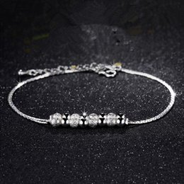 Wholesale Silver Ball Anklet - 12Pcs Lot Hot Sale Pretty Double Chain Beads Anklets Party Wedding Trendy Fashion Jewelry 925 Sterling Silver Women Anklet Brand Style