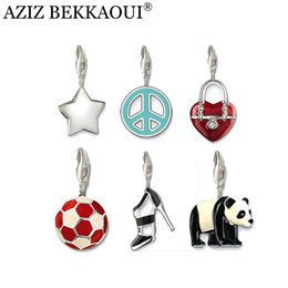 Wholesale Football Sandals - Wholesale-Clearance Sale Star Charms Fit Bracelet Famous Brand Diy Jewlery Sandals Panda Duck Football Fittings For Diy Charms Bracelet