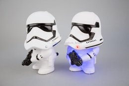 Wholesale Doll Sound Box - DHL LED Star Wars Action Figures 2016 Q Version Dath Stormtrooper doll touch with Light And Sound Electronic Toys children Gifts boxed BY000