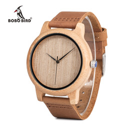 Wholesale Plastic Band Black For Watch - Bobo Bird Men 'S Bamboo Wooden Wristwatches With Genuine Leather Band Luxury Wood Watches For Men And Women C -A19 Drop Shipping