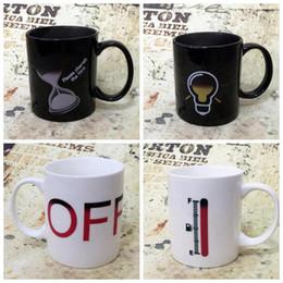Wholesale Coloured Mugs Wholesale - Creative Hourglass Ceramic Mugs Color Changing Mugs Magic Cup Ceramic Temperature Induction Mugs Change Colour Coffee Cups CCA7795 50pcs