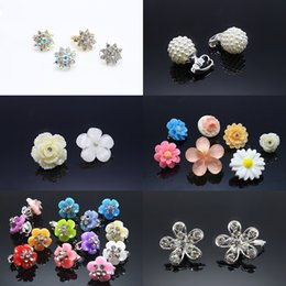 Wholesale 18k hair clip - 10pcs Tiny Hair Clip Wedding Prom Party Hair Grip Pearl Ball Plastic Flower Hair Jewelry