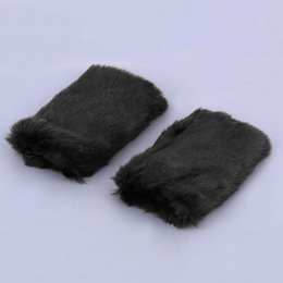 Wholesale Bamboo Cuff - Wholesale- Women Autumn Winter Faux Fur Gloves Hand Warmers Half - Finger Gloves Korean Style Rabbit Fur Long Cuff Gloves 2016 Hot Sale