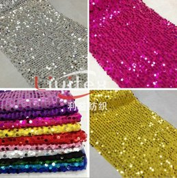 Wholesale Sequin Mesh Embroidery Fabric - super shiny blue gold silver 9mm sequins material wedding background mesh embroidery dancing stage decor paillette fabric