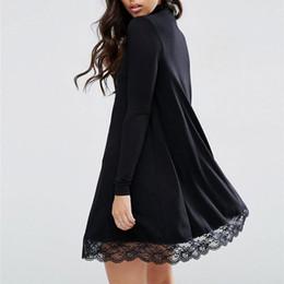 Wholesale Chiffon Turtleneck Dress - Wholesale- Autumn Women's Winter Sweater Dress Long Sleeve Crochet Lace Turtleneck Black Lace Stitching Dress Female Winter Dresses 2017