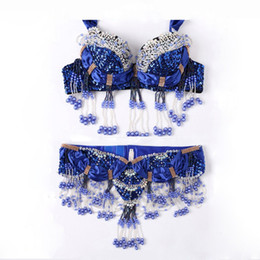 Wholesale Belly Dancing Outfits - Size S-XL Performance 11 Colors Women Dancewear Professional 2pcs Outfit Oriental Beads Costume Belly Dance Bra Belt