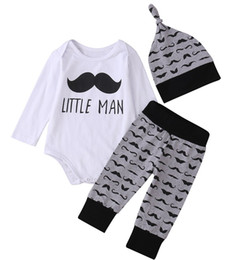 Wholesale boys moustache - 3pcs Newborn Baby Boys Girsl Clothes long sleeved Moustache Romper Tops + infant beard Pants + baby Hats Outfits Set