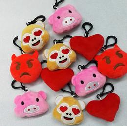 Wholesale Pig Keychains - New fashion 5.5cm Emoji Monkey love Pig Keychain Emotion QQ Expression Stuffed Plush Doll Toy for M