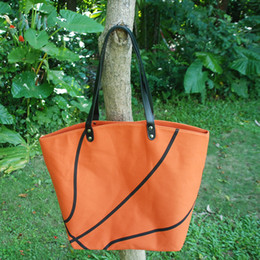 Wholesale Wholesale Women S Purses - Cotton Canvas Basketball Tote Wholesale Blanks Basketball purse with PU Handle and Magnetic Snap Closure 5 designs s ports tote DOM106295