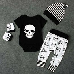 Wholesale Skull Harem Pants Baby - Halloween skull Boys Clothing Sets 4pcs set Baby Clothes Newborn Outfits Romper +hat cap+ Harem Pants + Gloves Infant Clothing suits A1104