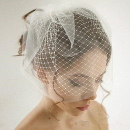 Wholesale Birdcage Blusher - Cheap Double Layer Birdcage Wedding Veil Bridal Accessories White Ivory Mesh Short Wedding Birdcage Veils Face Covers