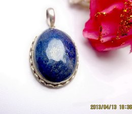 Wholesale Sterling Silver Lapis Jewelry - Tibet Style Jewelry 100% 925 Sterling Silver Inlay Oval Lapis Lazuli Pendant