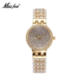 Wholesale Pearl Decorated - New Fashion Classic Original Desigh shining crystal and pearl decorated Full Stone Dial bracelet ladies modern watch