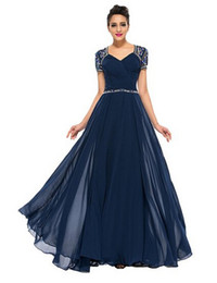 Wholesale Dresses Godmother - Vestido Navy Blue Mother of the Bride Dress Full Length Chiffon Gowns short Sleeves Lace sequin Godmother Dress 2016 Z102