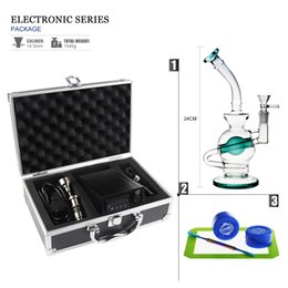 Wholesale Heater Cheap - REANICE (US standard) Temperature Controller Box Portable Electronic Heater Temperature controller+ Cheap Blue glass Water Bong+14mm male oi