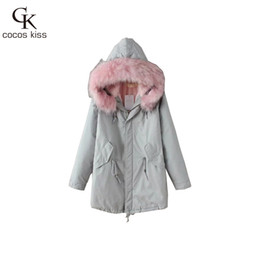 Wholesale Thick Korean Coat Women - Wholesale- 2017 New Korean Fashionable Style Long Length Thick Lady Cotton Coat Cute Wonderful Pocket Comfortable Womens Coat