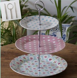 Wholesale Cake Tiers - 3 tiers round style cake stand rods ceramic fruit tray metal handles multi color(Excluding plate) home decor