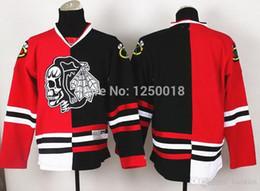 Череп черных ястребов онлайн-2016 дешевые Blackhawks пустой черный Красный Череп логотип мода Сплит хоккей трикотажные изделия,сшитые Джерси
