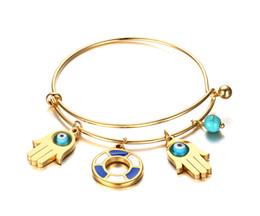 Wholesale Bracelet Stainless Steel Evil Eye - Turquoise Hamsa Evil Eye Hand Of Fatima Wire Bangle Bracelet