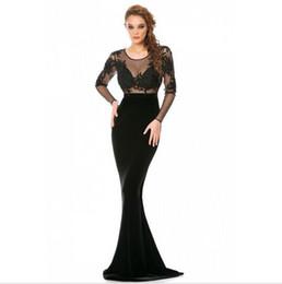 Wholesale Ladies Tops Design Lace - Modern Design Long Sleeve Elegant Evening Mermaid Dress With Appliques Transparent Top Long Length Attactive Ladies Design
