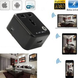 Wholesale Spy Camera Wall Socket - HD P2P Wifi Hidden Wall Charger Camera Socket Spy Camera AC Adapter Video Recorder Mini DV Camcorder for IOS Android Smartphone Remote View