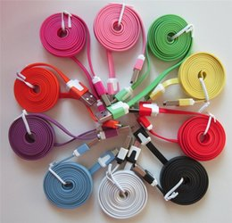 Wholesale Galaxy S4 Noodle Cable - New 1M Colorful Noodle Flat USB Charging Data Sync Cord Charger Cable Wire for Samsung Galaxy S4 S6 S7 Note 4 5 6 7 HTC Android Phone 3FT