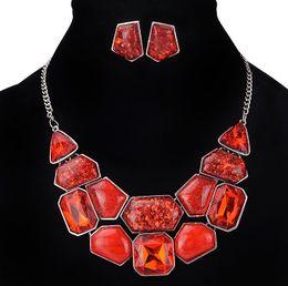 Wholesale Extravagant Earrings - Extravagant Necklace Earring Set Womens Geometric Fake Gemstone Red Multi Color Choker Chunky Statement Pendant Bib Jewelry Set