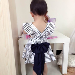 Wholesale Cute Baby Girl Clothes Retail - Retail Ins Summer Baby Girls Clothing Sets Big Bow Black White Stripe Dress +PP Shorts 2pcs Fashion Outfit Children Clothing 0-4T E038