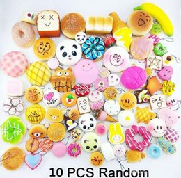 Wholesale Soft Toy Fruits - 10pcs lot squishies toy Slow Rising Squishy Rainbow sweetmeats ice cream cake bread Strawberry Bread Charm Phone Straps Soft Fruit toy b1428