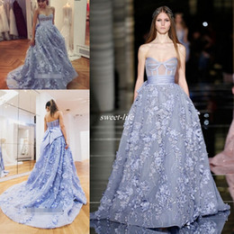 strapless zuhair murad prom evening dress Promo Codes - 2020 Zuhair Murad Blue 3D Floral Princess A Line Prom Party Pageant Dresses Strapless Arabic Evening Gown