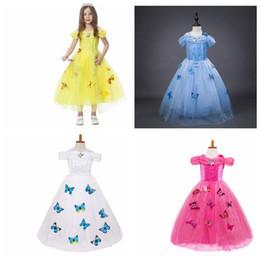 Wholesale Kids Short Dresses Diamonds - Girls butterfly lace Dress Christmas Tutu Elsa princess Dresses Kids snowflake diamond Cinderella Party Dress 4 color KKA2822