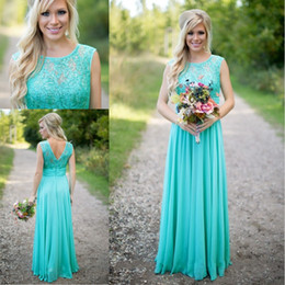 Wholesale Turquoise Dresses For Weddings - 2016 New Arrival Turquoise Bridesmaid Dresses Scoop Neckline Chiffon Floor Length Lace V Backless Long Bridesmaid Dresses for Wedding