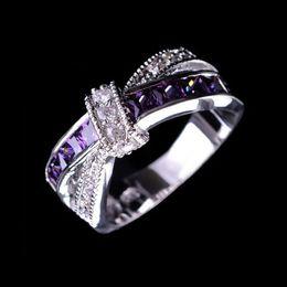 Wholesale Amethyst Silver Ring Men - 1PC Fashion Unisex Women Men Purple Amethyst White Gold Finger Cross Ring Jewelry Size 6-10