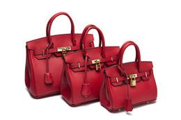Sacs à main en cuir rouge en Ligne-haut de la mode rouge plein sac à bandoulière en cuir sac à main fourre-tout femme fille pure 2018