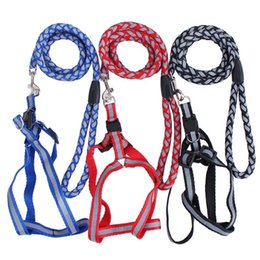 Wholesale Dog Chest Belt Harness - strong Reflective Dog Leash Pet Leads Belt Adjustable Traction Rope Walking Fluorescence Harness Chest Strap Chain dog supplies 1.5CM*120CM