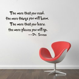 Wholesale Modern Reading Glasses - ZY8074 DIY Removable Wall Stickers Dr.Seuss The More That Your Read Decal Home Accessories Beautiful Pattern Design Decoration