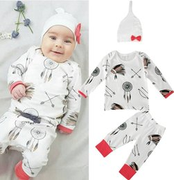 Wholesale Spring Boys 3pc Sets - christmas Newborn Infant Baby Boys Girls Kids arrow tshirt tops + ins pp Pants + infant ins Hat caps Outfit Clothes 3pc Set 0-2years