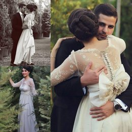 Wholesale Marriage Jewels - Saudi Arabia Sheer Lace Appliques Wedding Dresses Illusion Long Sleeves Back Covered Buttons Bridal Gowns Chiffon Long Vestios De Marriage
