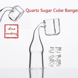 Wholesale sugar cubes wholesale - Free DHL Quartz Sugar Cube Banger Nail 14mm 18mm 19mm Female Male 100% Real Quartz 90 Degree Polished Joint for Square Pipes