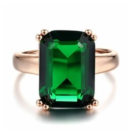 Wholesale copper plating lead - Stylish ol 18K Rose Gold Plated square green crystal No nickel no lead no cadmium R700
