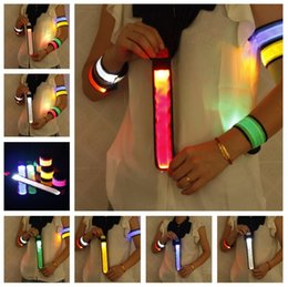 Wholesale Flashing Led Armbands - Nylon LED Sports Slap Wrist Strap Bands Wristband Light Flash Bracelet Glowing Armband Flare Strap For Party Concert Armband 200pcs