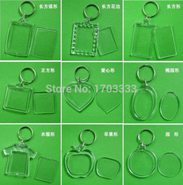 Wholesale Acrylic Key Chain Blanks - Wholesale ! DIY Acrylic Blank Photo Keychains Shaped Clear Key Chains Insert Photo Plastic Keyrings DHL Fedex Free 1000pcs
