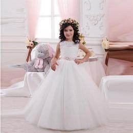2019 imagens quentes menina vestidos curtos Princesa vestido de baile branco tule vestidos de meninas para casamentos 2017 coleção de verão personalizado primeiro vestido de vestido de comunhão