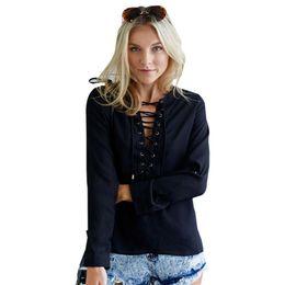 Wholesale Button Ups Shirts Women - Lace Up Black Blouse White Button Top Blue Ties up Shirt Women Long Sleeve Blouse Chiffon Deep V Neck Hollow Top Vintage Casual
