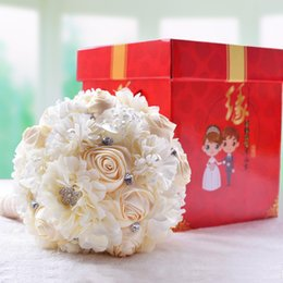 Wholesale Forever Bags - Hotsale Handmade Top Quality Beaded Brooch Silk Bride Wedding Bouquet Bridesmaid Artificial Flower Customizable Forever preserve