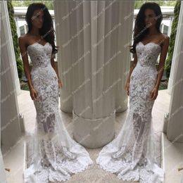 Wholesale Strapless Lace Sheath Wedding Dress - White Pearls Strapless Sheath Mermaid Illusion Lace Applique Sexy New Elegant Mermaid Wedding Dresses Wedding Gowns