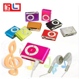 Wholesale Clip Mp3 Player Earphone - New Metal Mini Clip MP3 Support Micro TF SD Slot With Earphone and USB Cable Portable MP3 Music Players