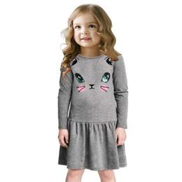 Wholesale dress cat for girls - New Fashion Princess Girls Dress Cat Print Children Long Sleeve Cartoon baby girl Cotton Party Dresses for kids