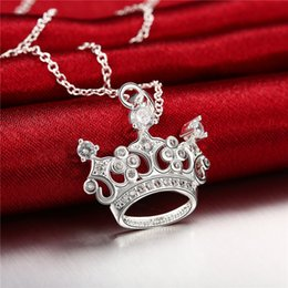Wholesale Crown Shaped Necklace - Hot sale crown shape Pendant necklace white gemstone sterling silver necklace STSN743,fashion 925 silver necklace factory direct sale