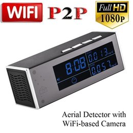 Wholesale ip camera motion detector - wireless WiFi clock IP Camera with air detector HD 1080P Alarm Clock MINI DV DVR Motion Activated Video Recorder